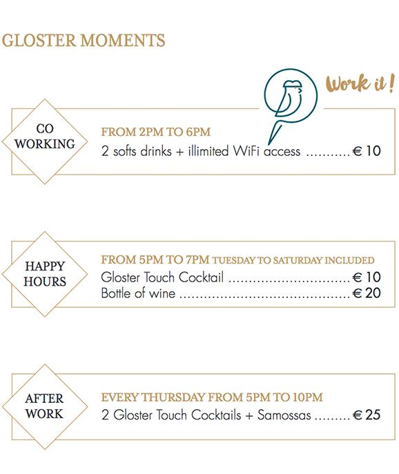 Gloster - Bar à cocktails - Accueil